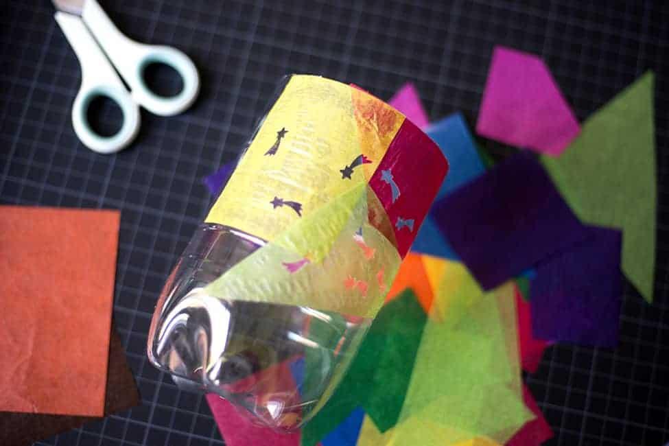 Upcycling Laterne aus Plastikflasche basteln mit Kindern