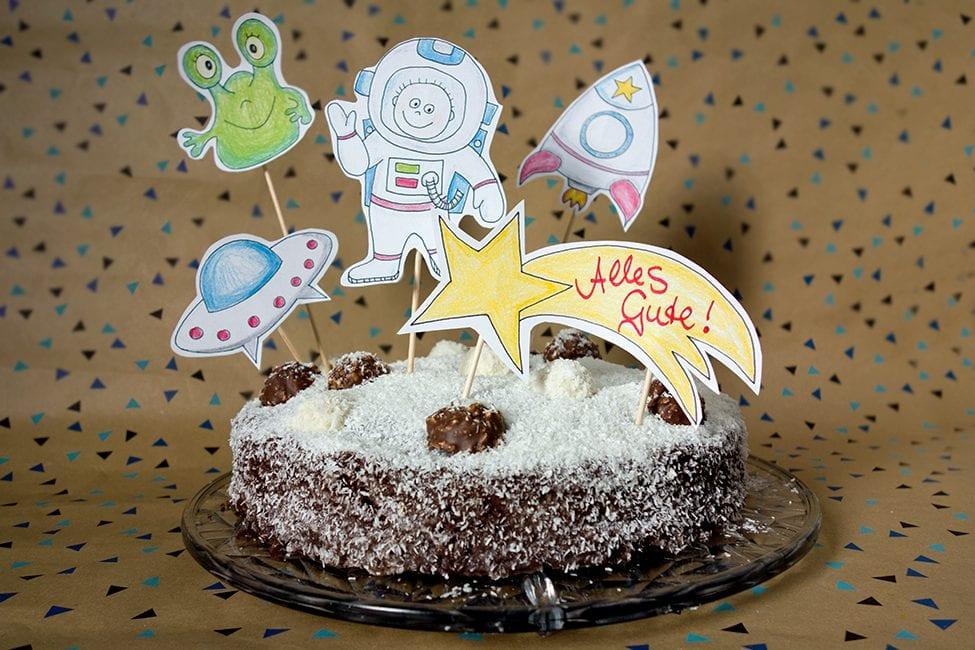 Kindergeburtstag Weltraum Weltall Kuchen
