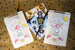 Weltraum Weltall Geburtstag Download Freebie Gästetüte Astronaut Rakete
