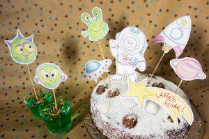 Kindergeburtstag Weltraum Weltall Kuchen Astronaut