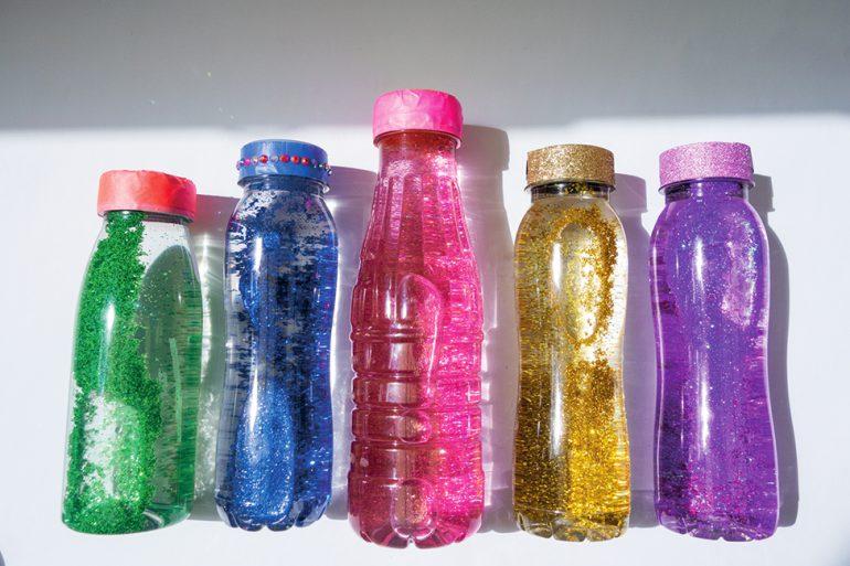DIY Glitzer Flasche Basteln mit Kindern