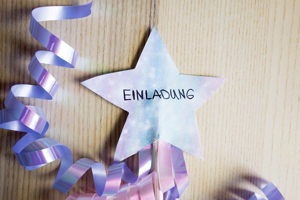 Zauberstab Einladung Kindergeburtstag