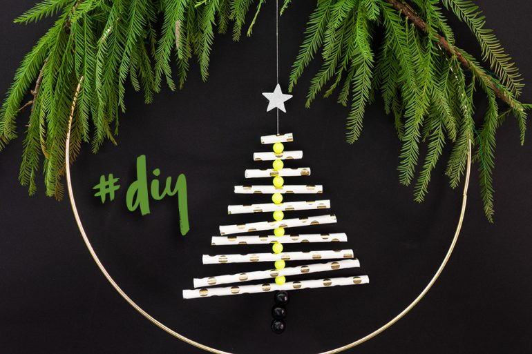tannebaum aus strohhalmen weihnachten basteln