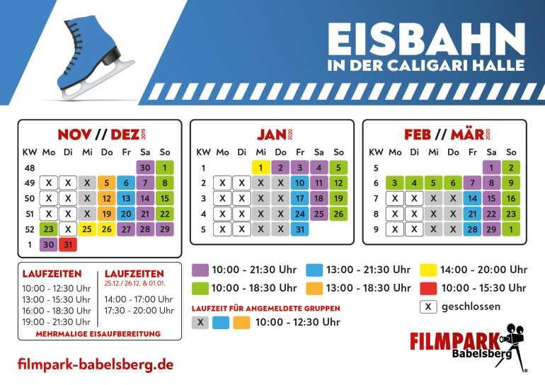 Eisbahn Schlittschuhlaufen Potsdam Filmpark Babelsberg Öffnungszeiten