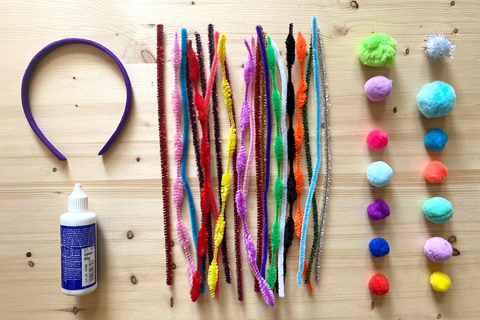 Kopfschmuck mit Haarreif basteln DIY kindergeburtstag