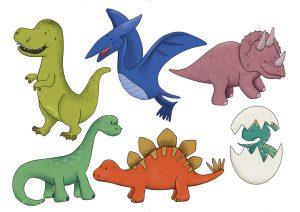 Dinosaurier Illustration kostenfrei Kindergeburtstag Cake Topper Download Freebie Dekoration
