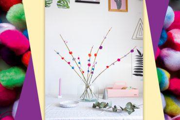 Frühlingsstrauß aus Pom Poms DIY basteln