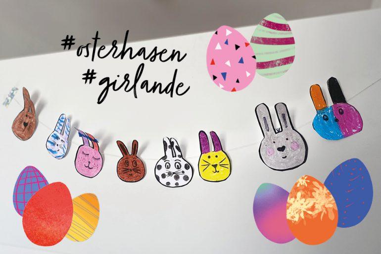 Osterhasengirlande basteln Ostern Kinder DIY