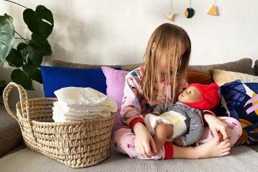 Haut von Babys Pampers Windeln