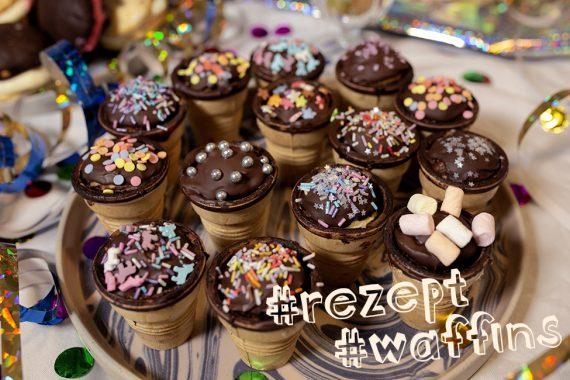 waffins rezept kindergeburtstag essen buffet muffins waffelbecher