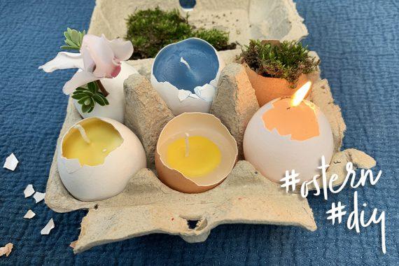 Kerzen Eierschalen Ostern DIY osterkerzen anleitung