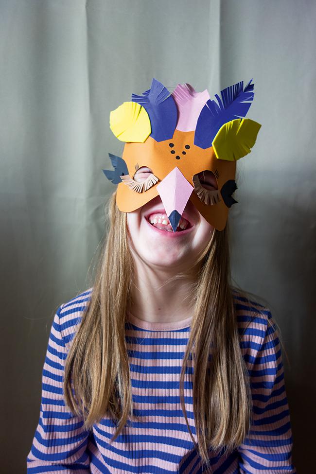 Vogelsmaske Kinder basteln DIY