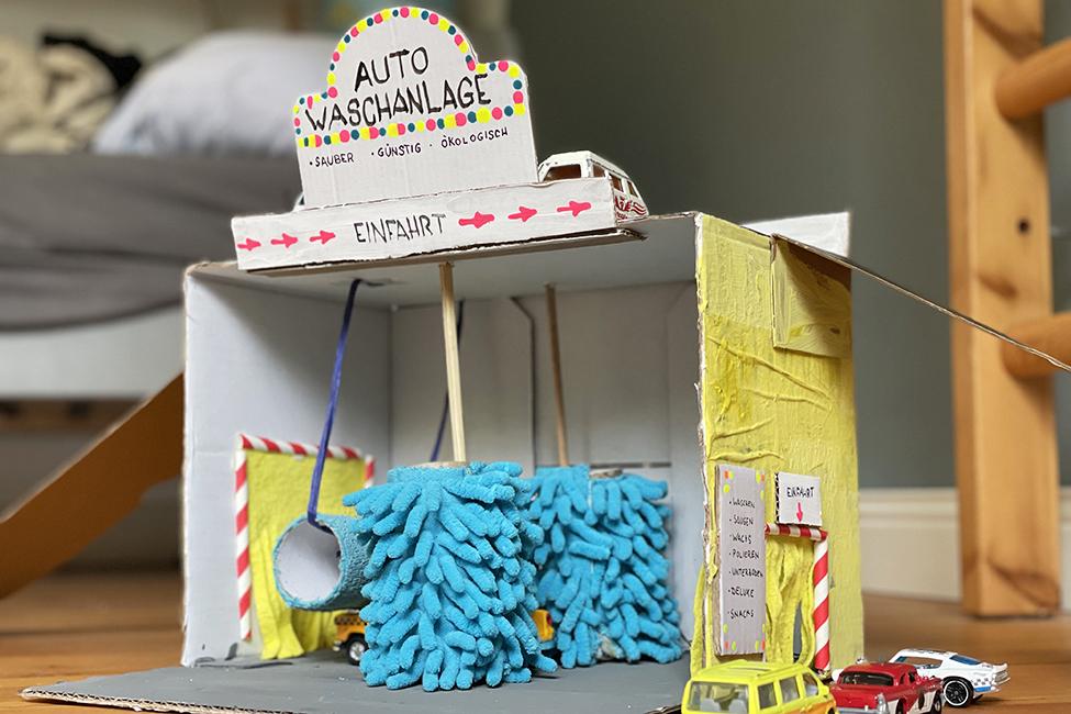 Waschstraße DIY Kinder basteln Upcycling