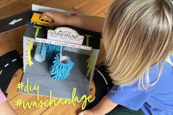 Waschstraße DIY Kinder basteln Upycling