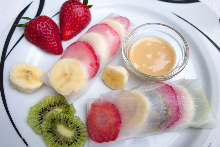 Sommerrollen Fruchtrollen Frühstück Rezept