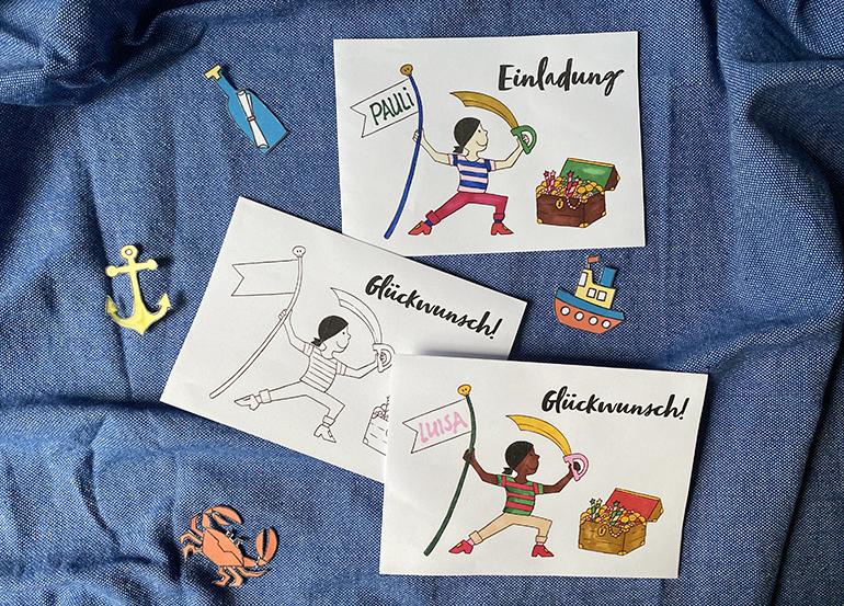 piraten kindergeburtstag einladung glückwunsch karte kostenfrei herunterladen ausdrucken